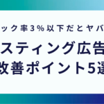 リスティング広告文の改善ポイント5選【クリック率3%以下必見】